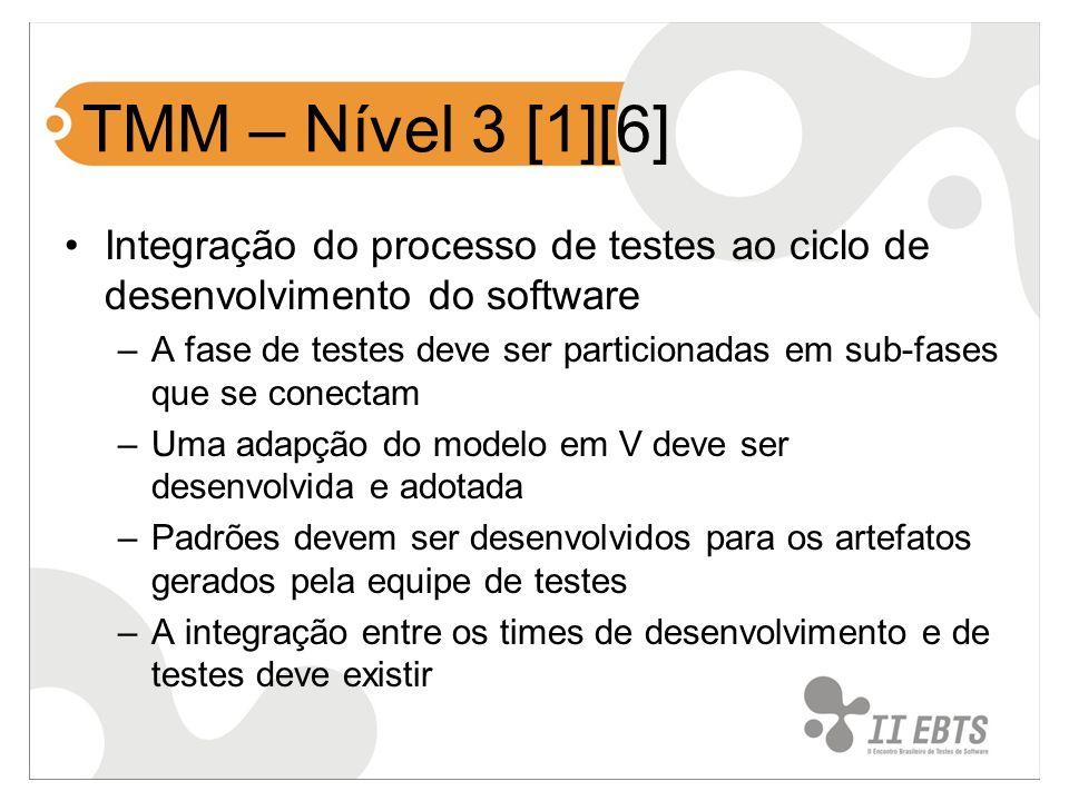 TMM – Nível 3 [1][6] Integração do processo de testes ao ciclo de desenvolvimento do software.